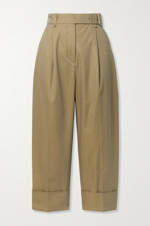 Cropped Belted Pleated Cotton-twill Wide-leg Pants - Beige