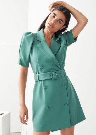 Puff Sleeve Belted Mini Dress - Green - Mini dresses - & Other Stories
