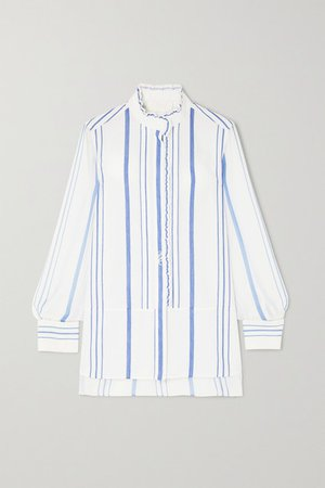 Embroidered Striped Cotton-twill And Georgette Shirt - White