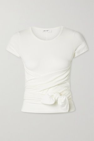 White Jeanne knotted stretch-cotton jersey T-shirt | The Line By K | NET-A-PORTER