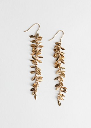 Hanging Olive Branch Earrings - Gold - Drop earrings - & Other Stories