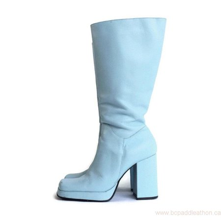 Womens Boots Retail 90s Platform Baby Blue Leather Knee High Boots Womens Size 7.5 US 38 EU Canada AOL0105819
