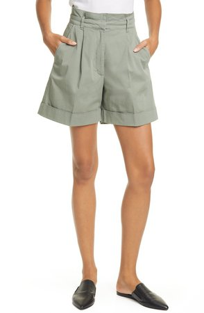Norah Pleated High Waist Twill Shorts