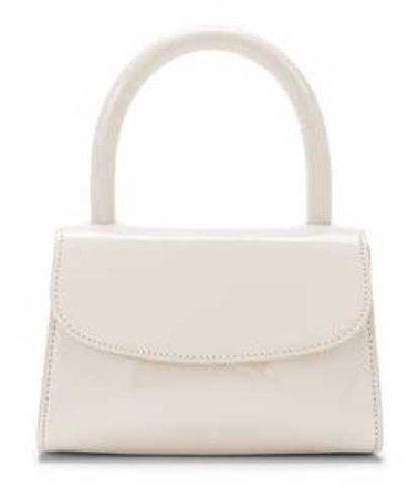 BY FAR Cream Patent Mini Handbag