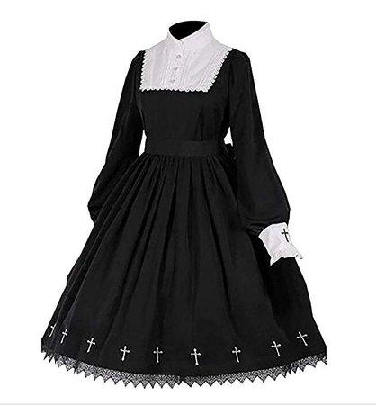 Tong Gu Women Lolita Gothic Dress Vintage Cross Embroidery Long Sleeve Princess Dress at Amazon Women's Clothing store: