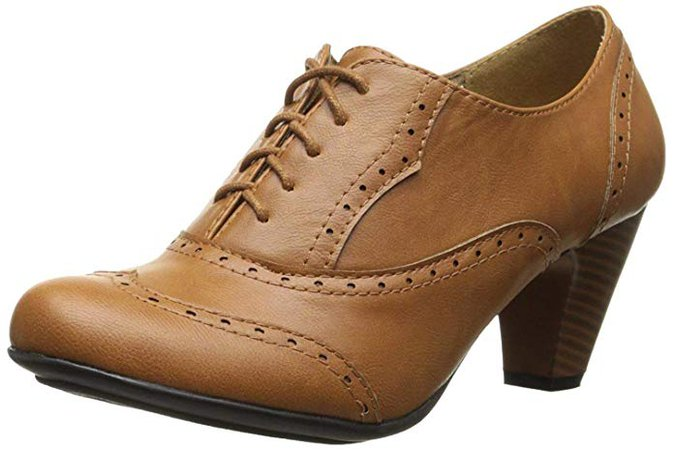 Amazon.com | Refresh Leatherette Lace up Oxford Chunky Booties Women Ankle Heels Tan, 10 | Ankle & Bootie