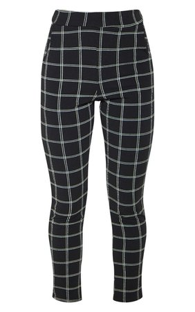 Black Check  Skinny Trousers | Trousers | PrettyLittleThing