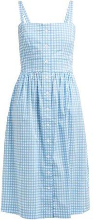 Laura Gingham Cotton Midi Dress - Womens - Blue Multi