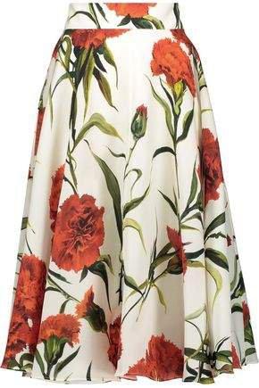 Flared Floral-print Silk-crepe Midi Skirt