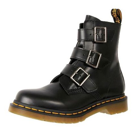 Doc Martens Women's Leather 3 Strap Ankle Boots Blake Black | The Shoe Link