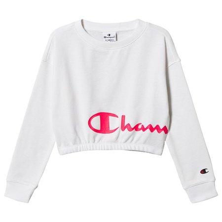 Champion - Crewneck Crop Top White/Pink - Babyshop.com