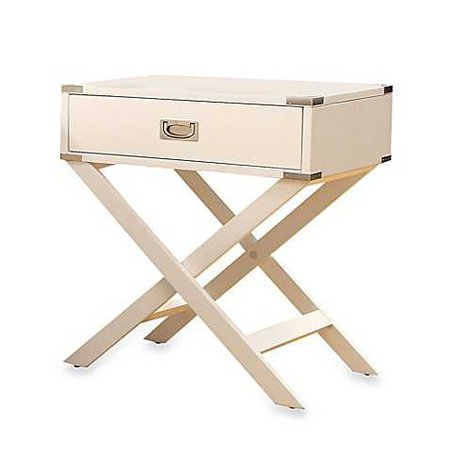Verona Home One Drawer Accent Table/Cross Leg Nightstand in White - Bed Bath & Beyond