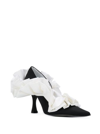 Mm6 Maison Margiela 90Mm Ruffled Pumps S40WL0042PR027 Black | Farfetch