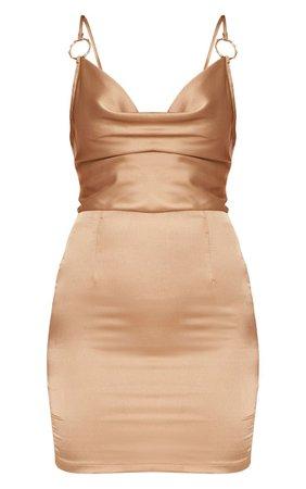 Champagne Satin Cowl Neck Bodycon Dress | PrettyLittleThing USA