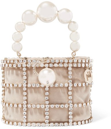 Holli Embellished Gold-tone And Velvet Tote - Neutral