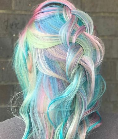 Long rainbow hair