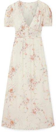 Ariel Floral-print Silk-georgette Maxi Dress - Ivory