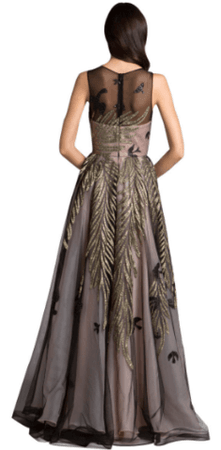 DRESSES BY LARA - Gold Magical Foliage Gown hire at Girl Meets Dress Cocktail Dress hire, Designer Dress Hire and Prom Dress rental