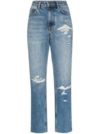 Blue Ksubi High-Waisted Straight Leg Jeans   Farfetch.com