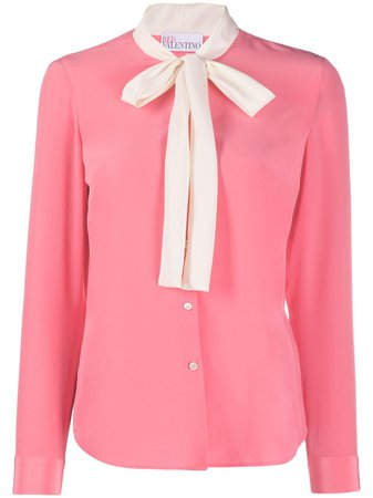 Shop pink RED Valentino pussy-bow blouse with Express Delivery - Farfetch