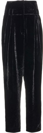 Balmain High-Rise Tapered Velvet Pants