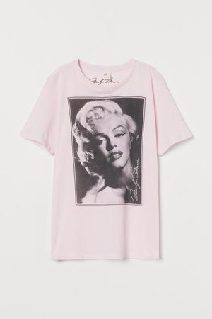 T-shirt with Motif - Light pink/Marilyn Monroe - Ladies | H&M US