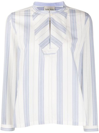 White Forte Forte Striped Panel Blouse For Women | Farfetch.com