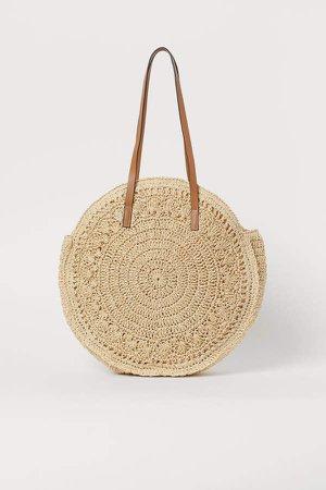 Round Straw Shopper - Beige