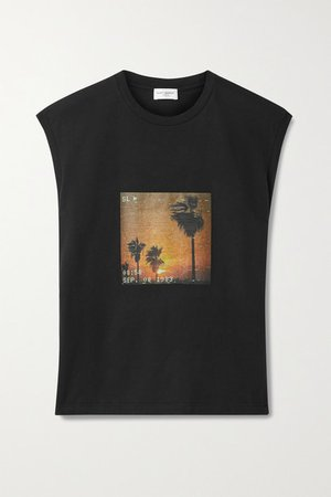Printed Cotton-jersey Tank - Black