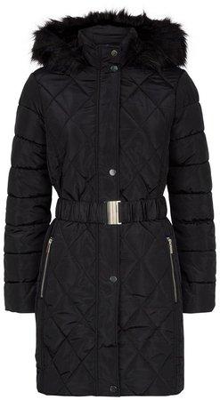 Black Long Fur Neck Jacket