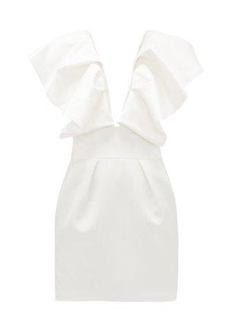 ALEXANDRE VAUTHIER  Ruffled plunge-neck satin mini dress