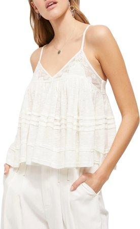 Sweet Pea Lace Trim Linen Blend Camisole