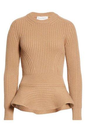 Alexander McQueen Wool & Cashmere Peplum Sweater | Nordstrom