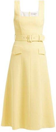 Petra Panelled Wool Crepe Midi Dress - Womens - Light Yellow