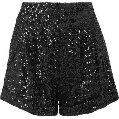 Orta Sequined Crepe Shorts - Black