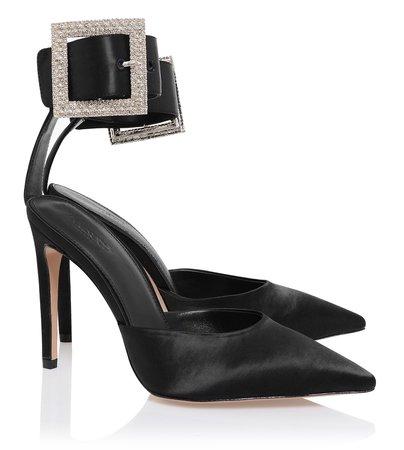 Shoes : 'Krista' Black Crystal Buckle Pumps
