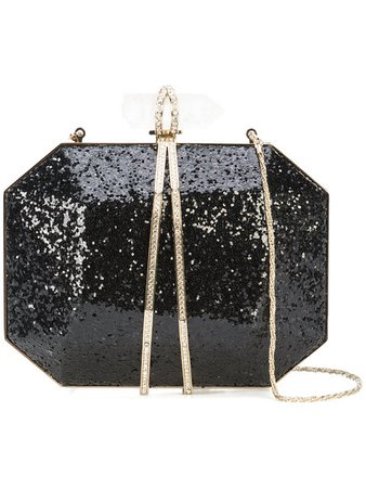 MARCHESA glitter box clutch bag