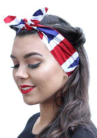 British Flag Land Girl Vintage 50s Style Pin Up Bow Head Scarf Bandana: Amazon.co.uk: Clothing