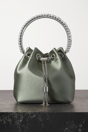 Bon Bon Crystal-embellished Satin Bucket Bag - Green