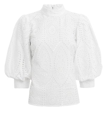 Broderie Anglaise White Eyelet Blouse