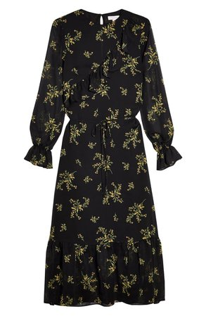 Topshop Wild Floral Long Sleeve Chiffon Midi Dress | Nordstrom