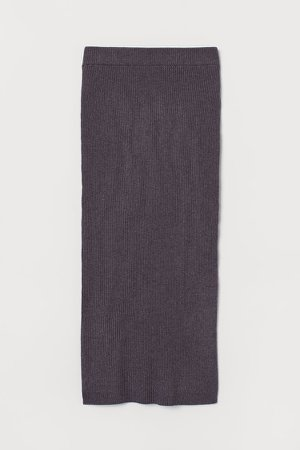 Rib-knit Skirt - Purple