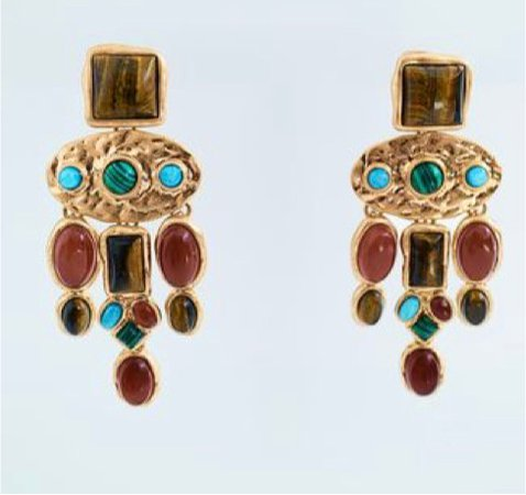 Zara western turquoise and bronze earrings