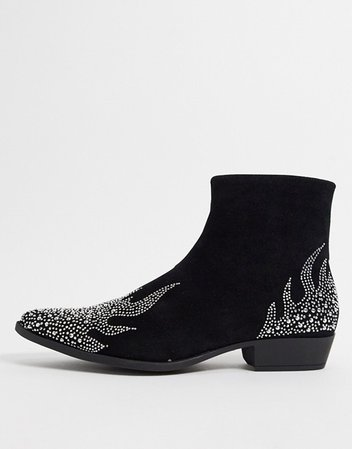 ASOS DESIGN stacked heel western chelsea boots in black with glitter flame | ASOS