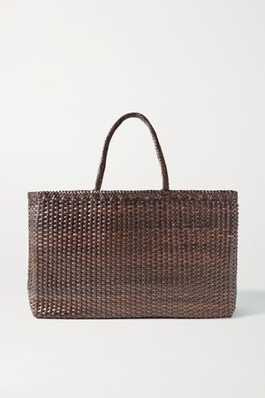 Max Large Woven Leather Tote - Dark brown