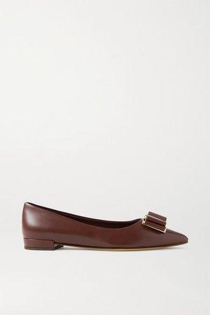 Zeri Bow-embellished Leather Point-toe Flats - Merlot