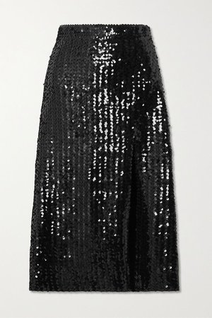 Black Sequined tulle midi skirt | Gucci | NET-A-PORTER