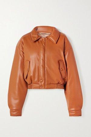 Bomi Vegan Leather Bomber Jacket - Camel
