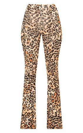 Brown Slinky Leopard Print Flared Pants | PrettyLittleThing USA