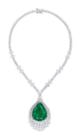 THE IMPERIAL EMERALD OF GRAND DUCHESS VLADIMIR OF RUSSIA SUPERB EMERALD AND DIAMOND PENDENT NECKLACE | pendant, diamond | Christie's
